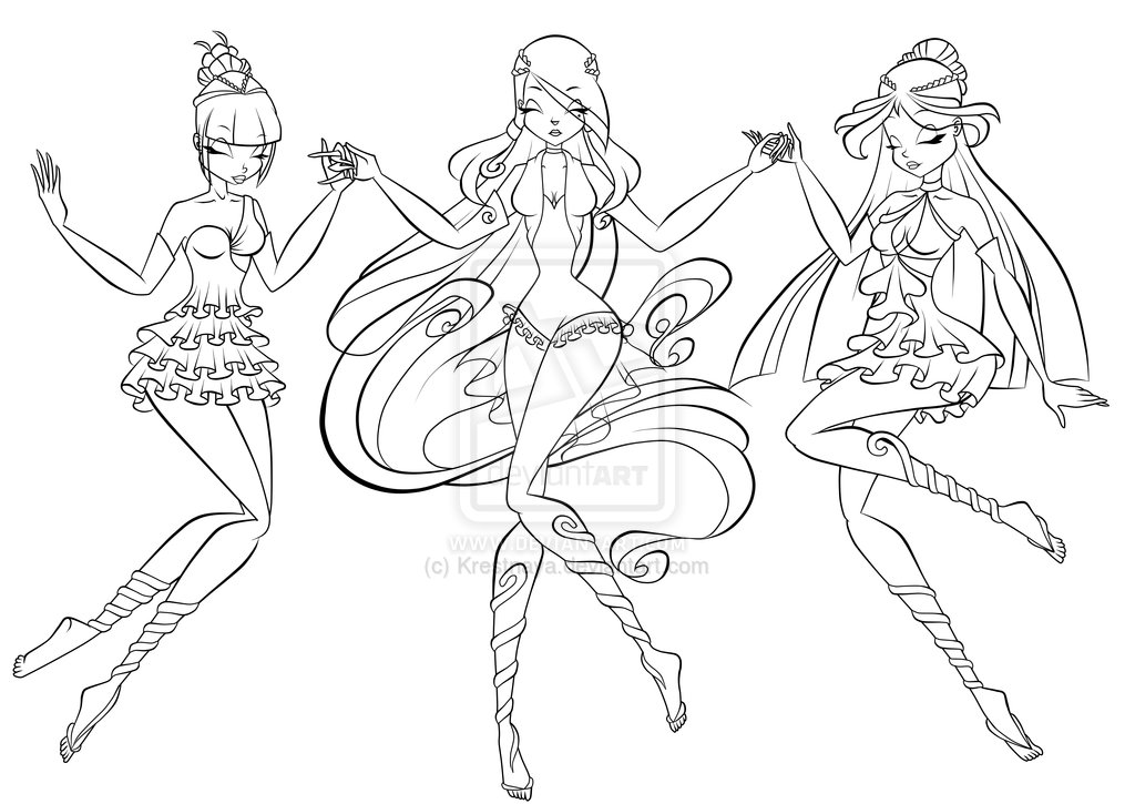 Vita, Nika and Luxa Enchantix Convergence Lineart by Krestnaya on ...