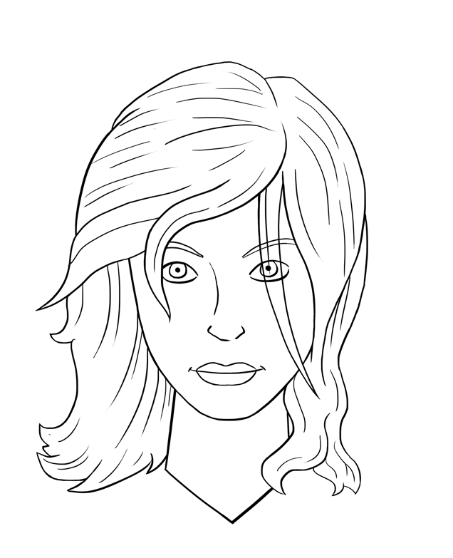 Line Drawing Female Face : Change hair color az colorare