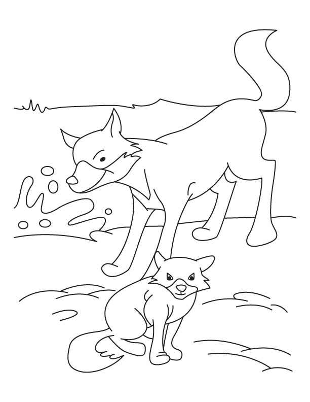 Fox and Cub coloring page | Download Free Fox and Cub coloring ...