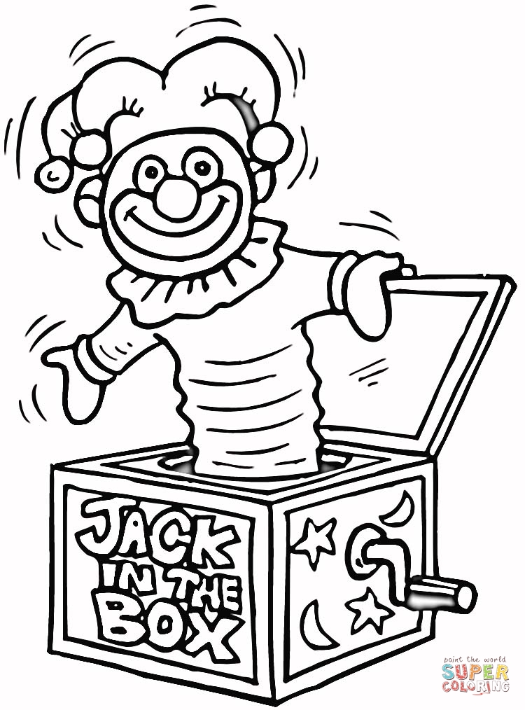 Jack in the Box Toy coloring page | SuperColoring.com
