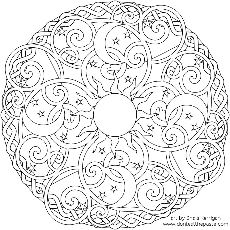 Don't Eat the Paste: Celestial Mandala box, card and coloring page