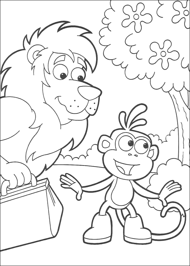 Monkey Cartoon Coloring Pages | Coloring