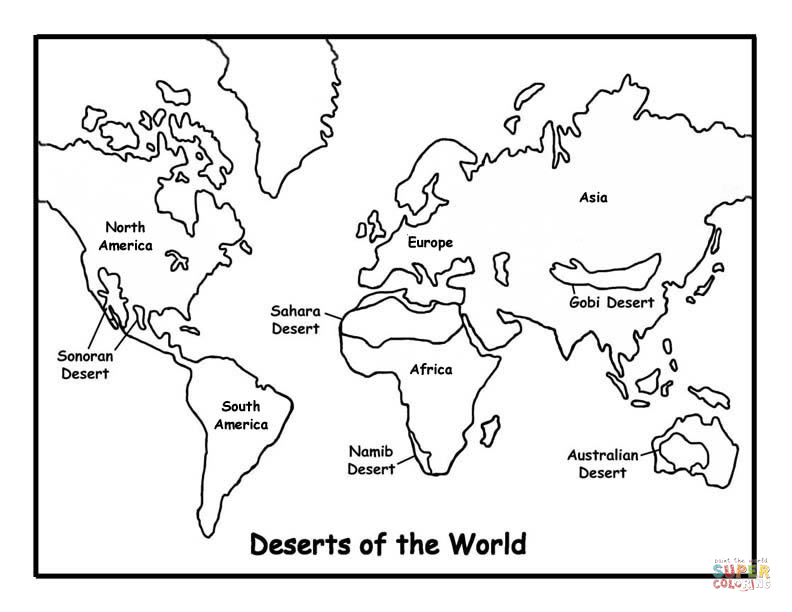 Map Of Deserts coloring page | SuperColoring.