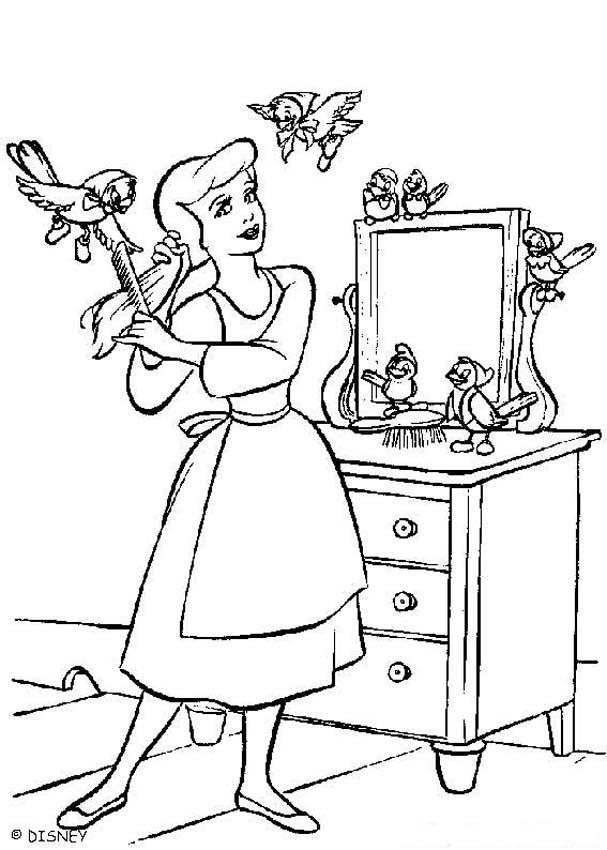 Cinderella coloring book pages - Beautiful Cinderella