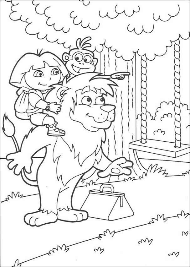DORA THE EXPLORER coloring pages - Dora on the swing