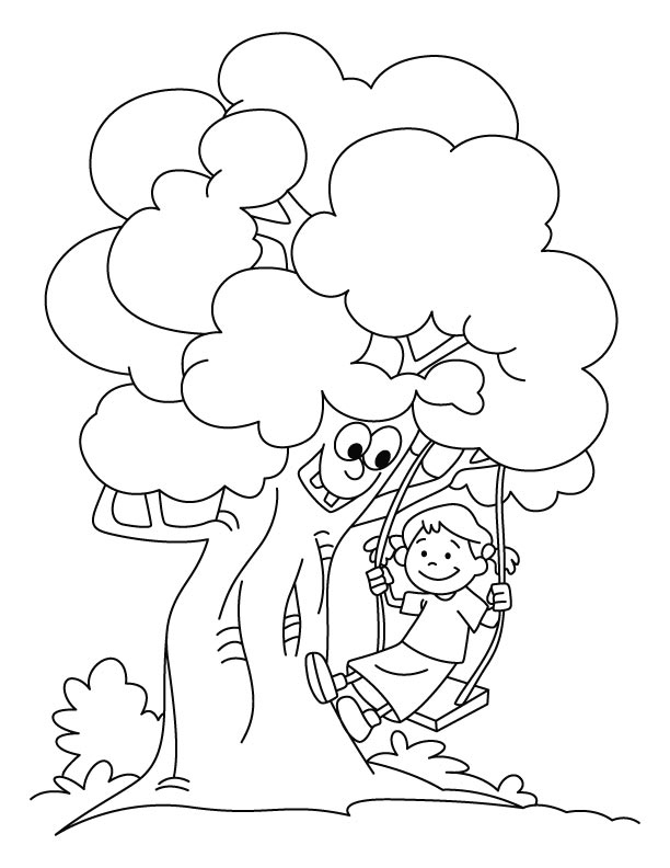 Girl swinging coloring pages | Download Free Girl swinging ...