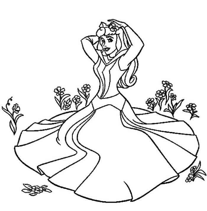 Rose In Auroras Hand Sleeping Beauty Coloring Page - Princess ...