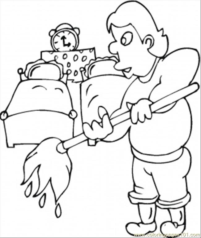 Coloring Pages Husband Cleans The Kids Room (Other > Furnitures ...