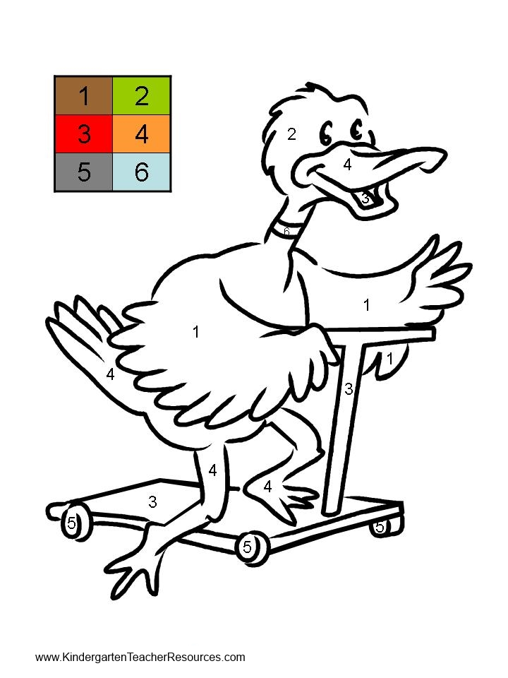 Duck Color by number worksheets