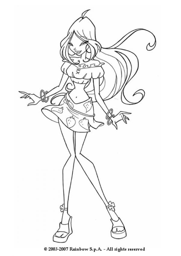 FLORA coloring pages - Flora wearing a strawberry skirt