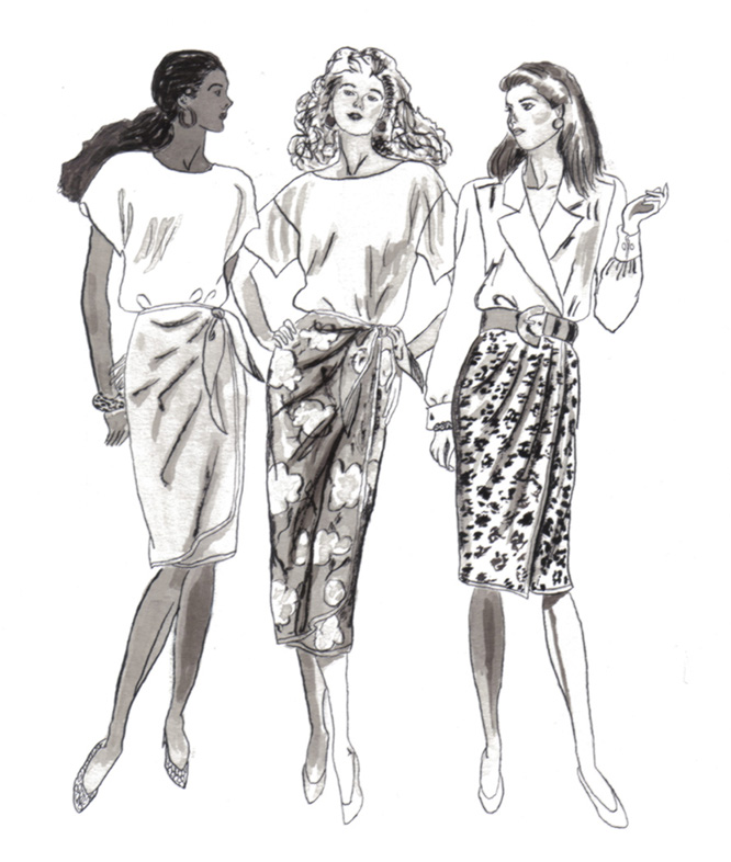 Three Women – Pen & Ink and Ink wash | michaelrados.com