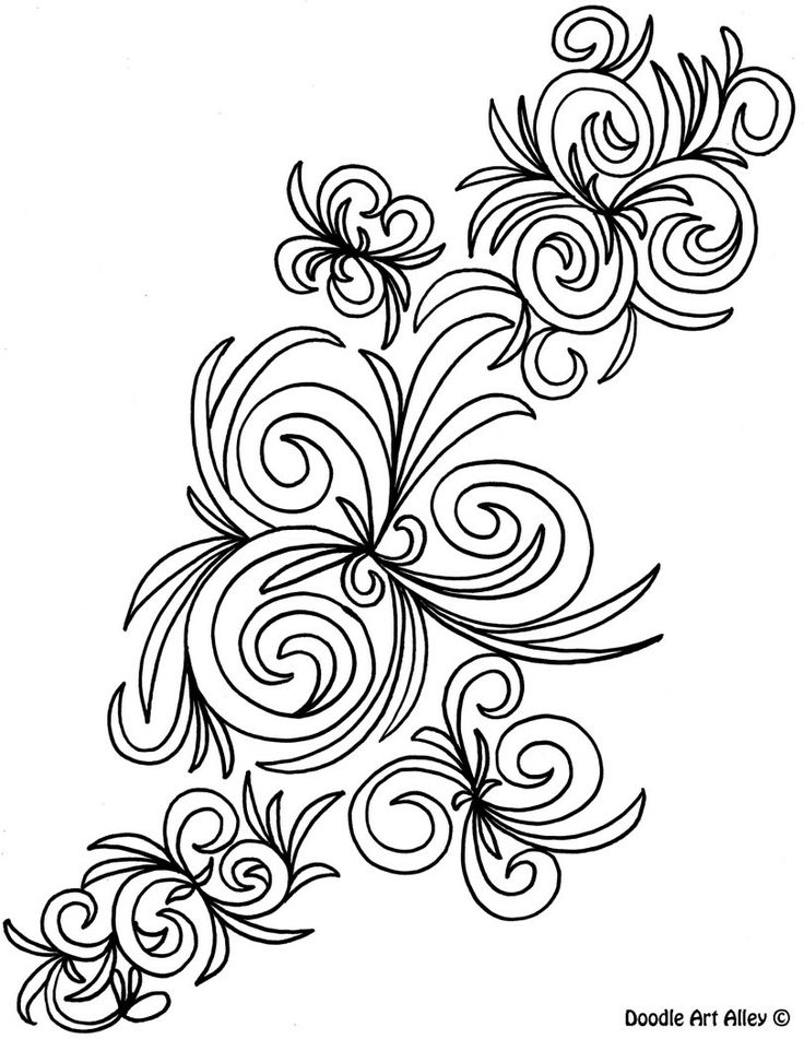 Scribble Drawing In Art Therapy : Abstract coloring pages doodle art alley color therapy