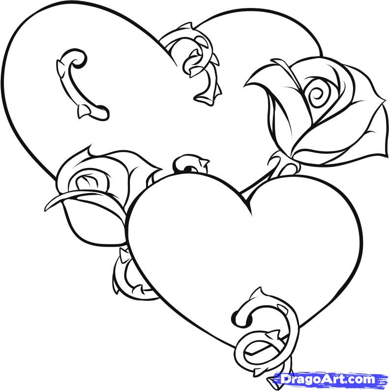 coloring pages hearts and roses | Maria Lombardic