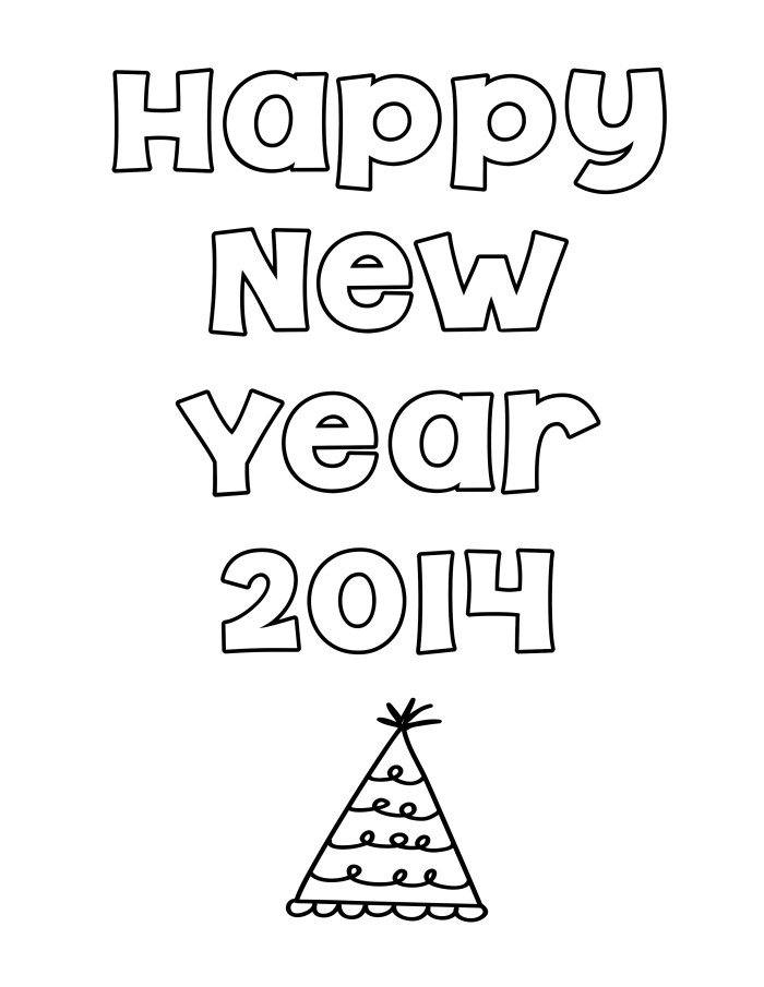 Happy New Year Color Sheet Printable - Digi-Mama's - Free Printables