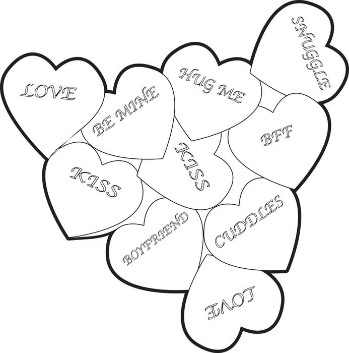 Free, Printable Valentine Heart Candies Coloring Page for Kids