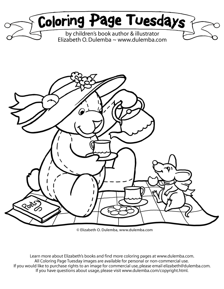 dulemba: Coloring Page Tuesday - Teddy Tea Party