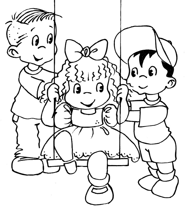 friends in a swing - free coloring pages | Coloring Pages