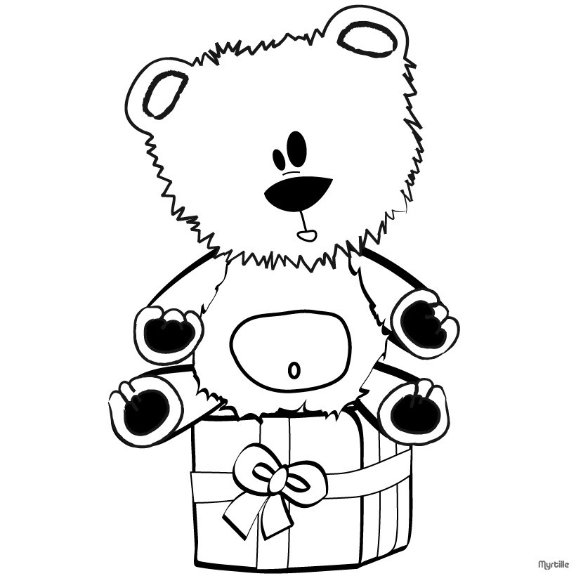 CHRISTMAS GIFT coloring pages - Teddy Bear on gift box