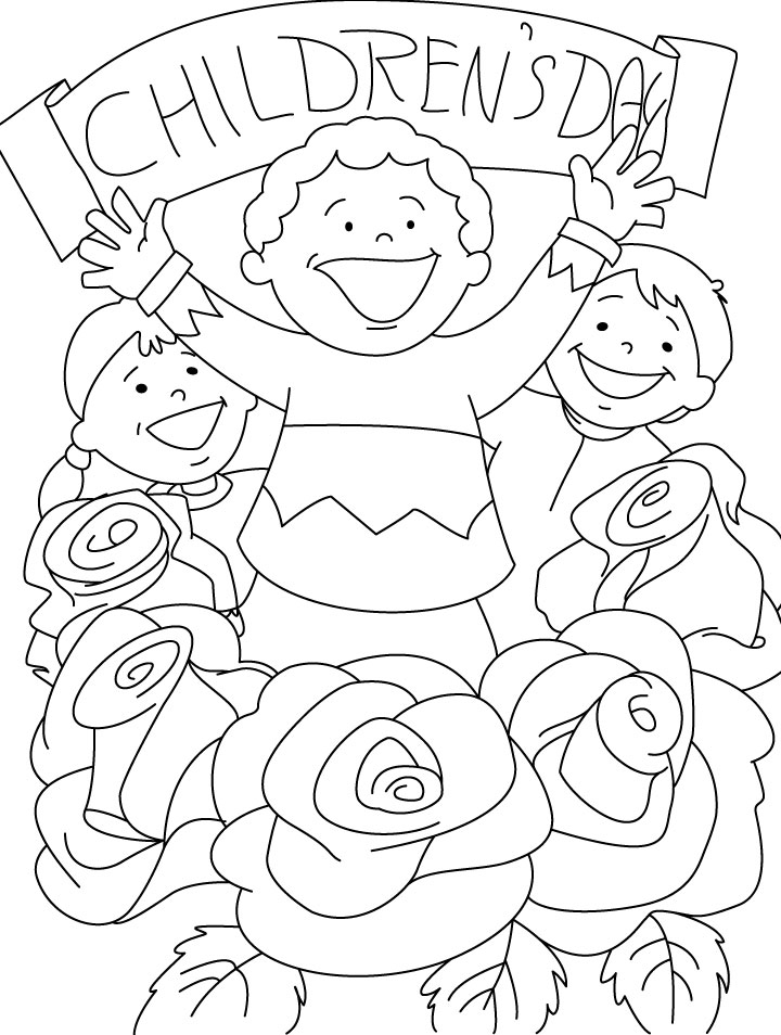 Happy Kids And Roses Children Day Coloring Pages | Coloring