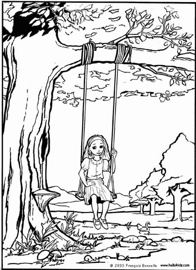 SPRING coloring pages - Girl is seesawing