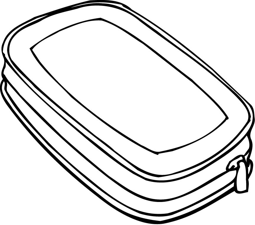 coloring page of a pencil container with zipper - Coloring Point
