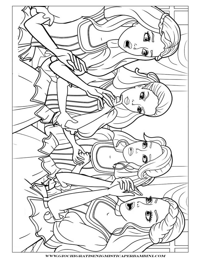 Barbie e le tre moschettiere da colorare az colorare for Disegni barbie da colorare