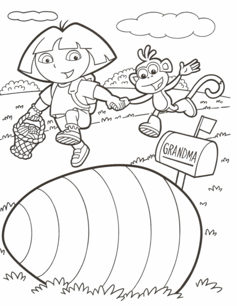 Dora the Explorer Easter Coloring Book Printable