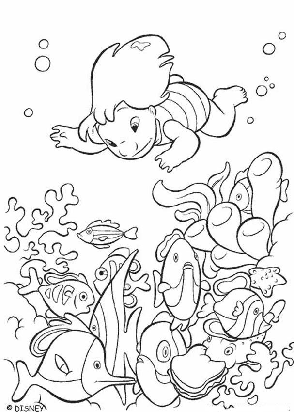 Lilo and Stitch coloring pages - Lilo swiming with fishes