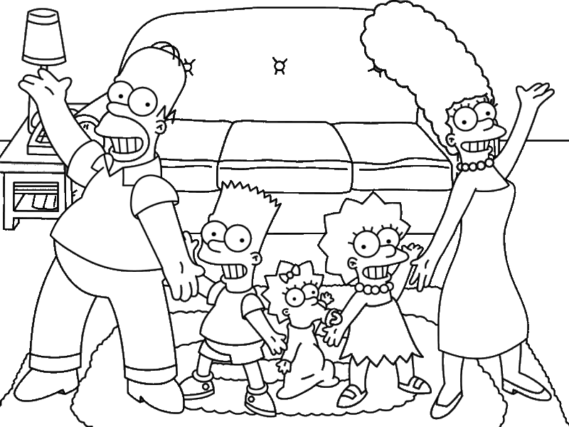 The Simpsons Black & White>> Simpsons Family Color Ins!