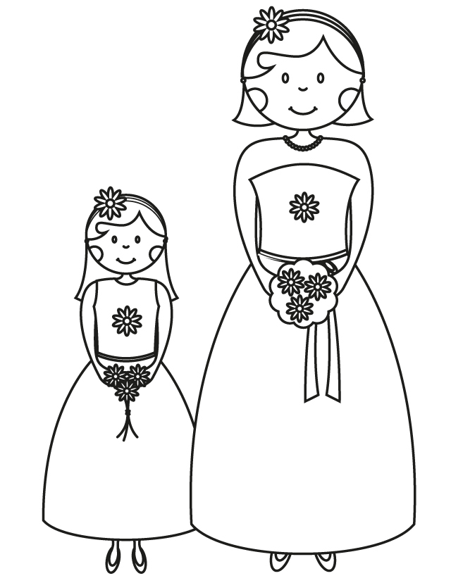 Bridesmaid Flower Girl - Free Printable Coloring Pages