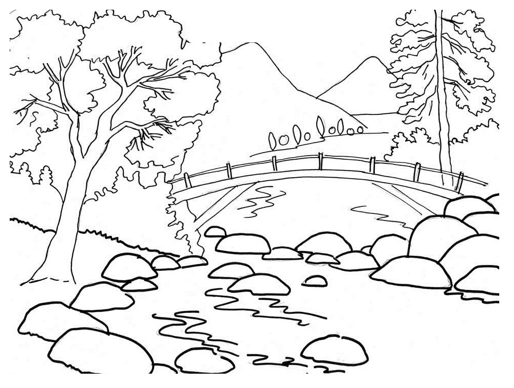Beautiful River Bank Landscape Coloring Pages | Coloring Pages