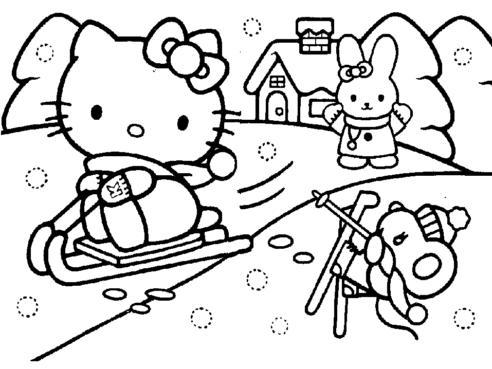 WINTERY SNOW SCENE HELLO KITTY COLOURING