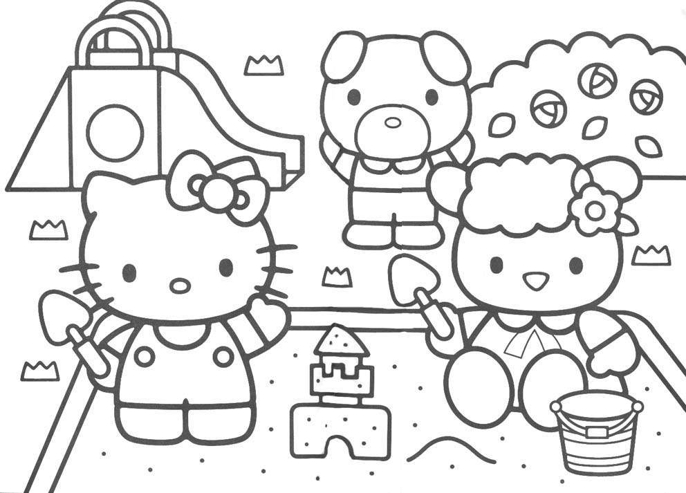 coloring pages of hello kitty and friends