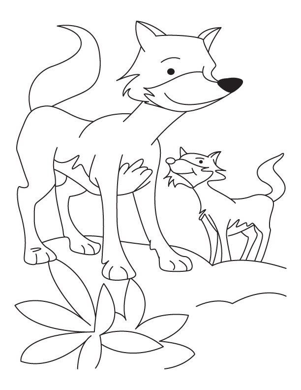 Fox with cub coloring pages | Download Free Fox with cub coloring ...