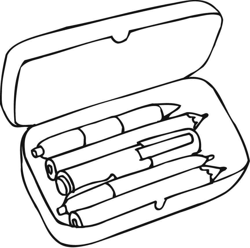 coloring pages of pencil box for preschoolers - Coloring Point