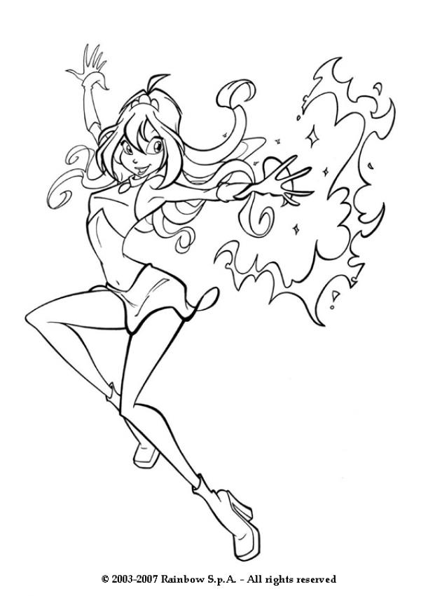 BLOOM coloring pages - Winx Bloom with magic power
