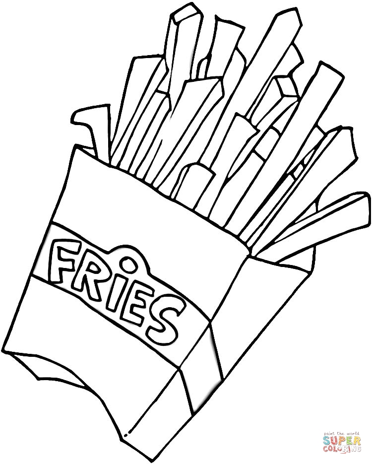 French Fries coloring page | SuperColoring.