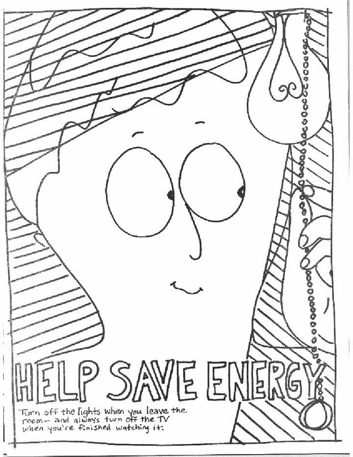 Save Energy - Coloring Page for Kids - Free Printable Picture