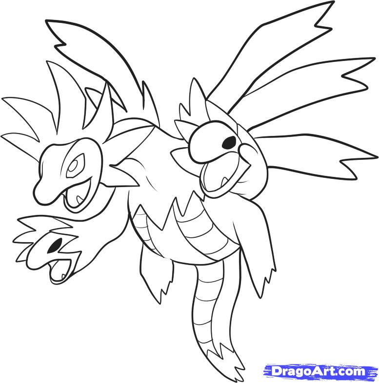 How to Draw Hydreigon, Draw Sazandora, Step by Step, Pokemon ...