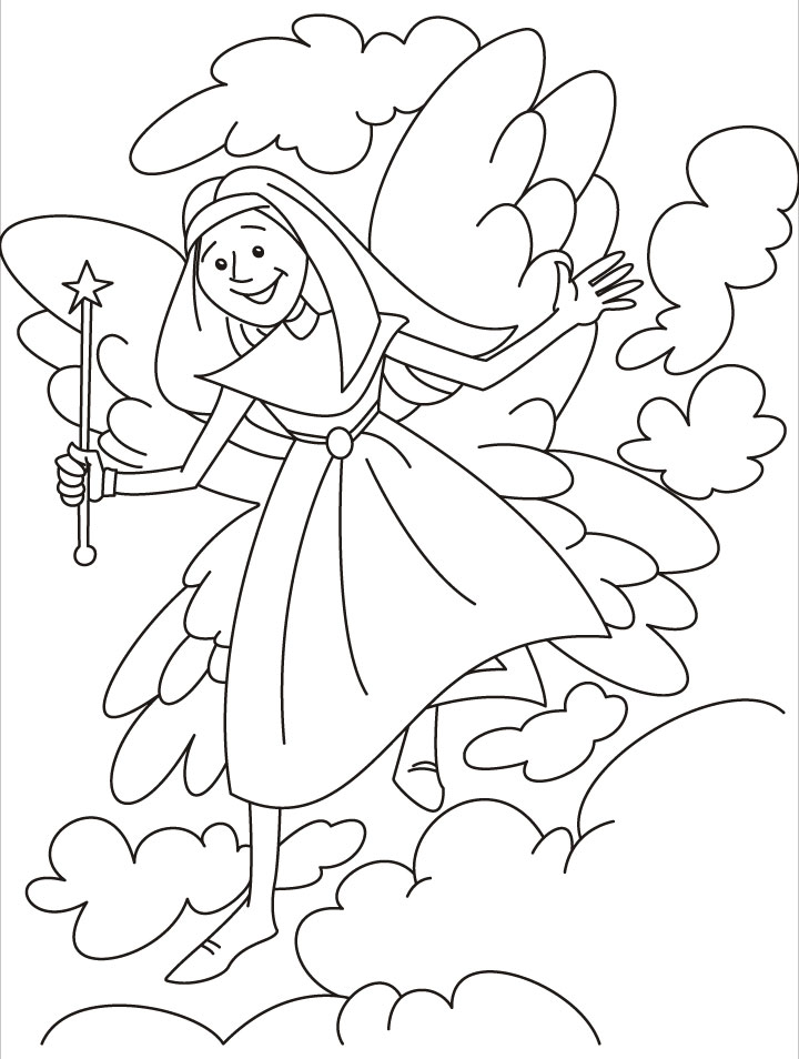 Fairy inviting you to the fairyland coloring pages | Download Free ...