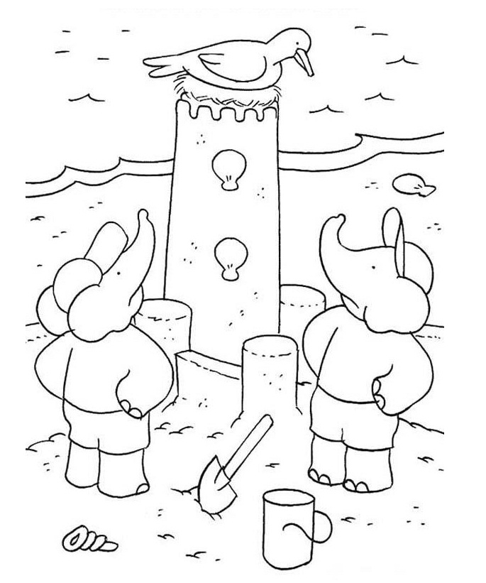 Coloring Pages of Sand Castle Building | Coloring