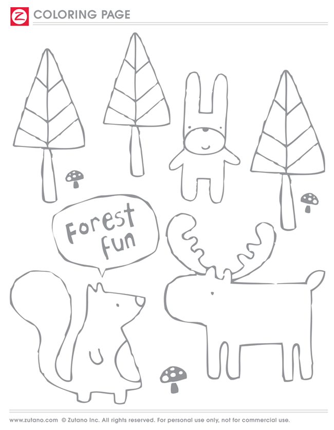 TBT Coloring Page: Forest Friends | blog.zutano.com