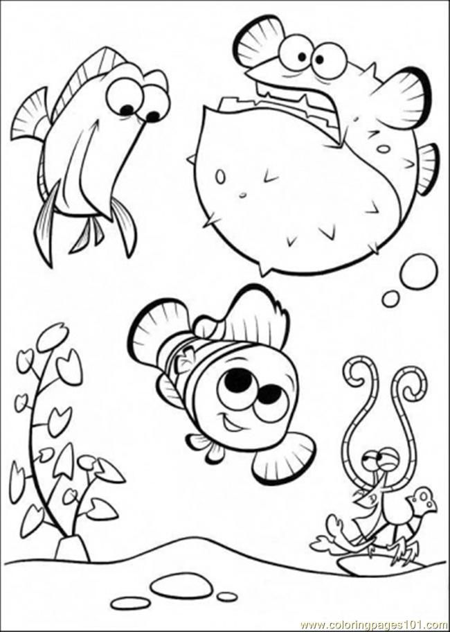 Coloring Pages Happy In Tank (Cartoons > Finding Nemo) - free ...