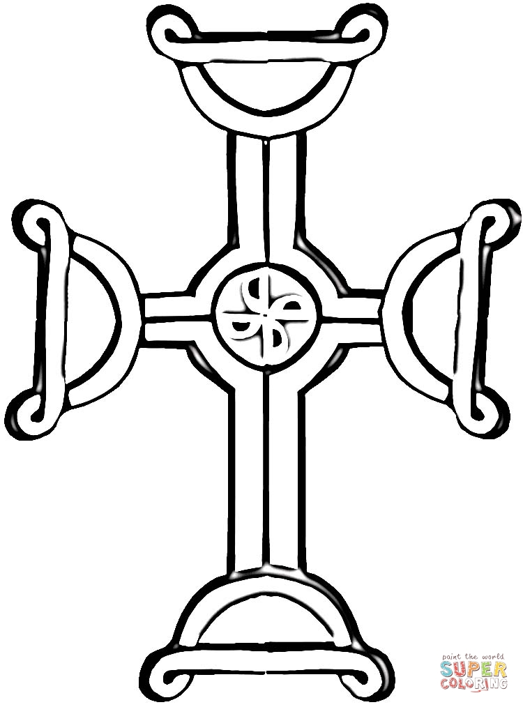 Celtic Cross coloring page | SuperColoring.