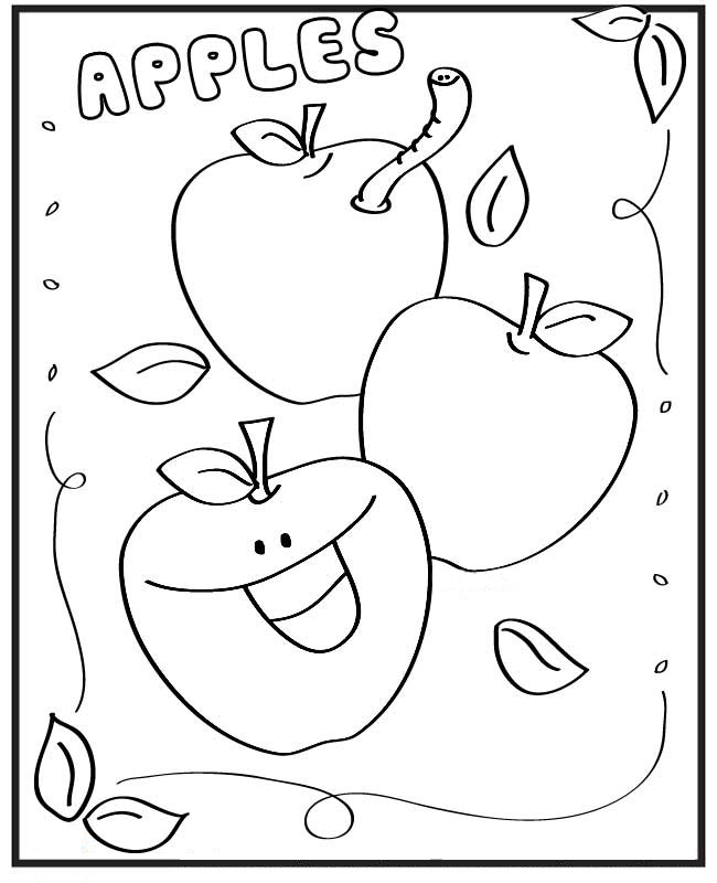 Apples Greeting Card to Color | Coloring