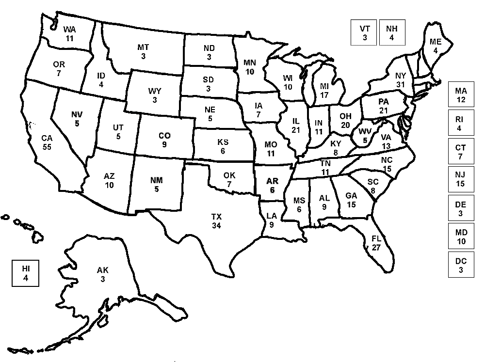 An electoral map to color while watching election returns ...