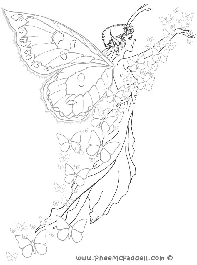 Beautiful Butterfly Fairy | COLORING PAGES | Pinterest