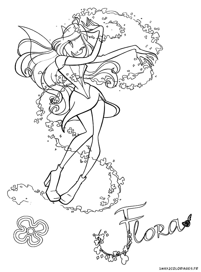 Coloriage Winx club, Flora enchantix a colorier