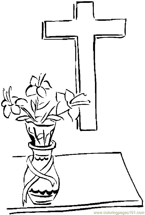 Coloring Pages Cross & Lilies 9 (Entertainment > Holidays) - free ...