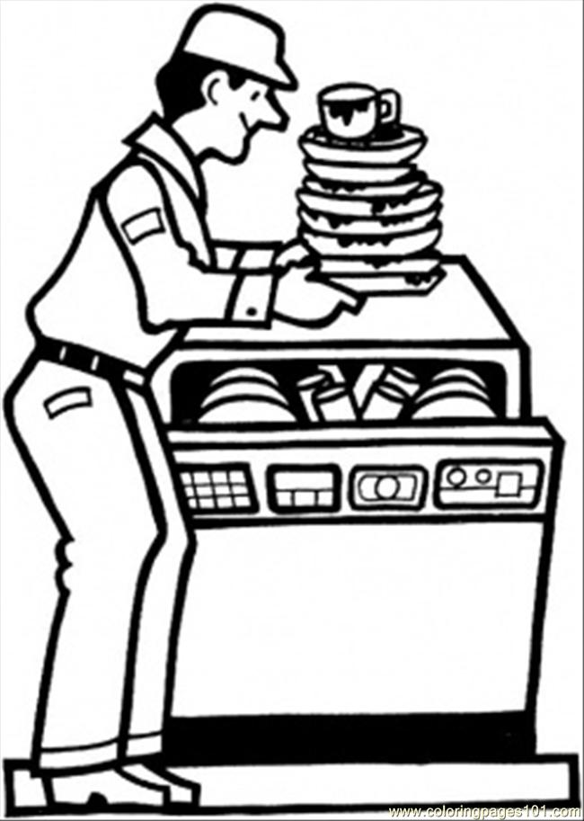 Coloring Pages Dish Washing Machine (Technology > Home Appliances ...